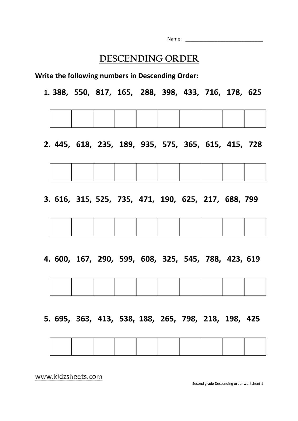 Ascending And Descending Order Worksheets For Grade 3
