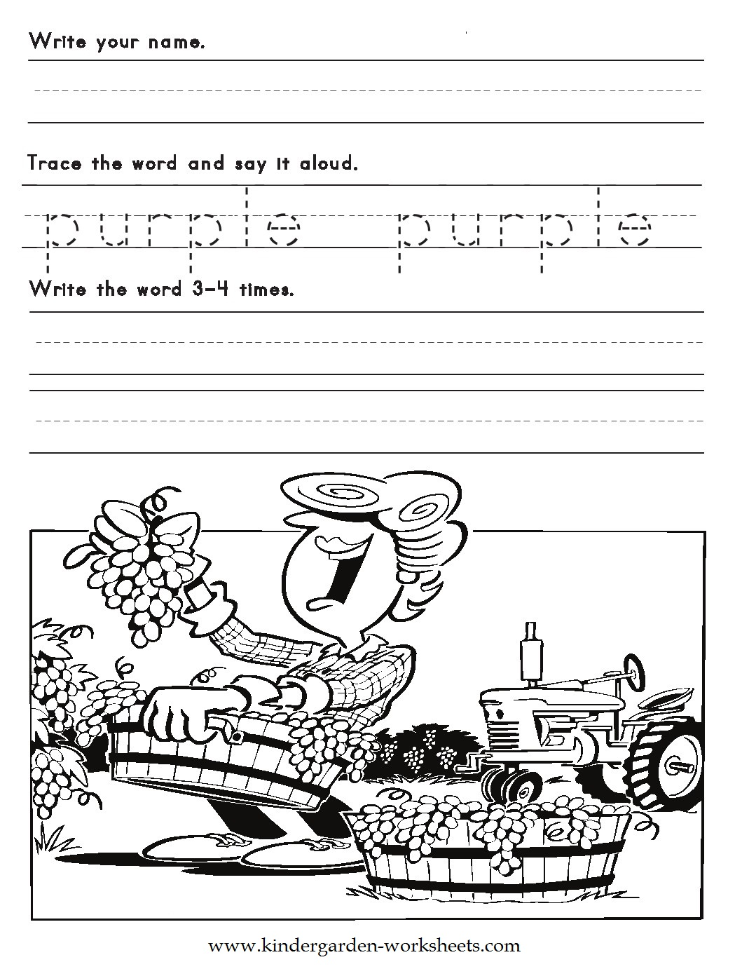 Kindergarten Worksheet Color Pink