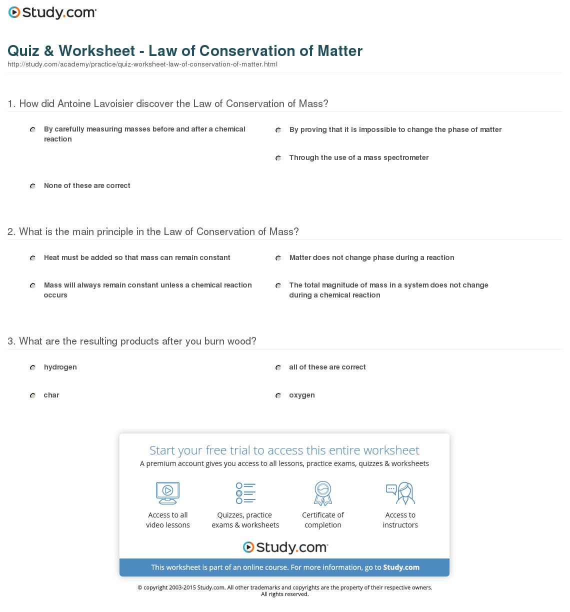 Law Of Conservation Of Mass Worksheets