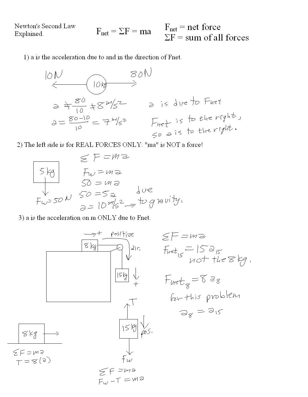 Newton S Second Law Of Motion Worksheets Answers