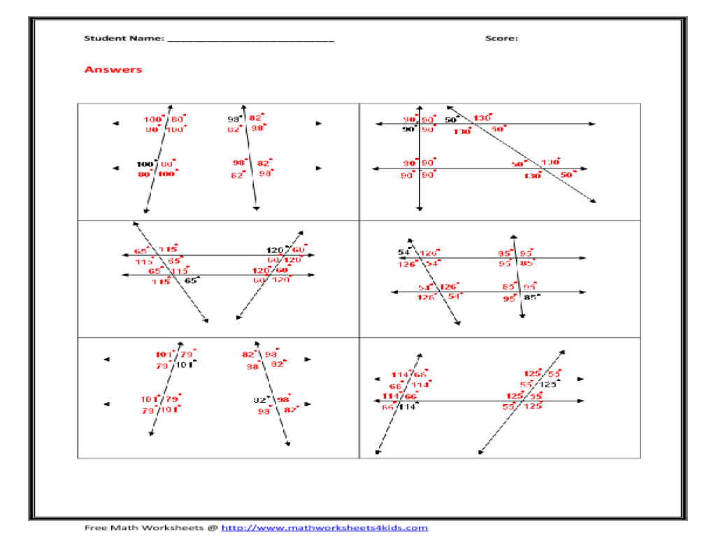 Lines And Transversals Worksheets