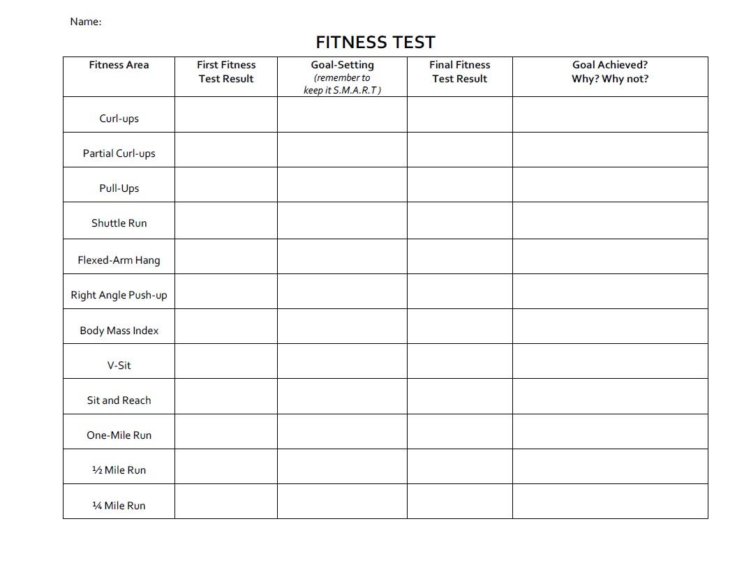 Healthy Living Goals Worksheet