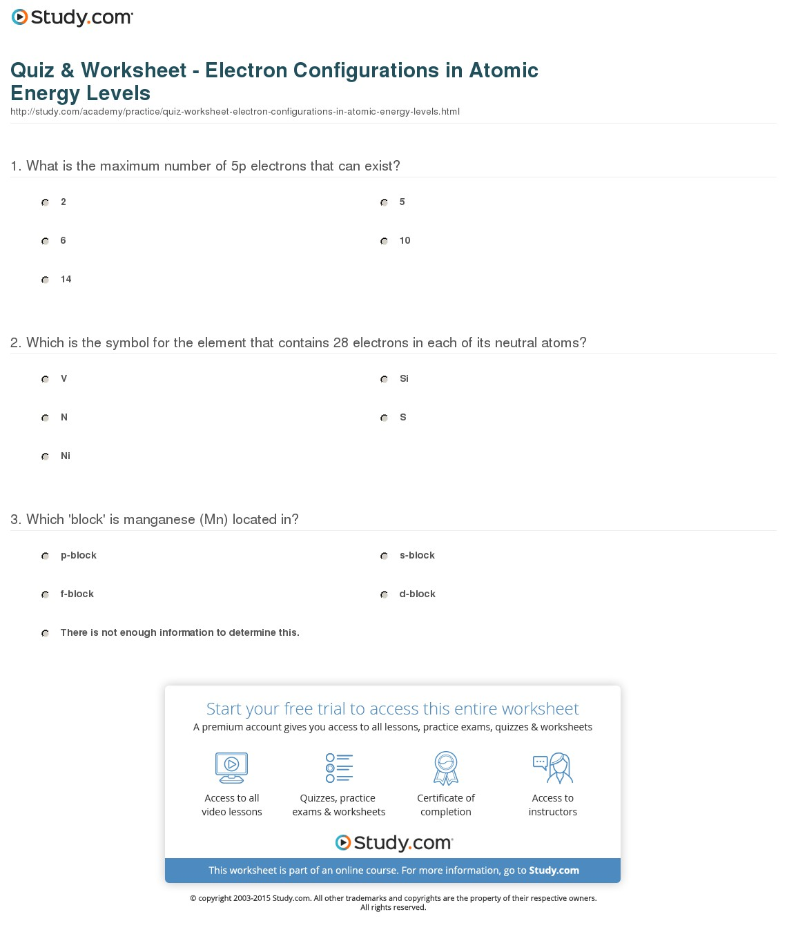 Electrons In Atoms Worksheets Answers