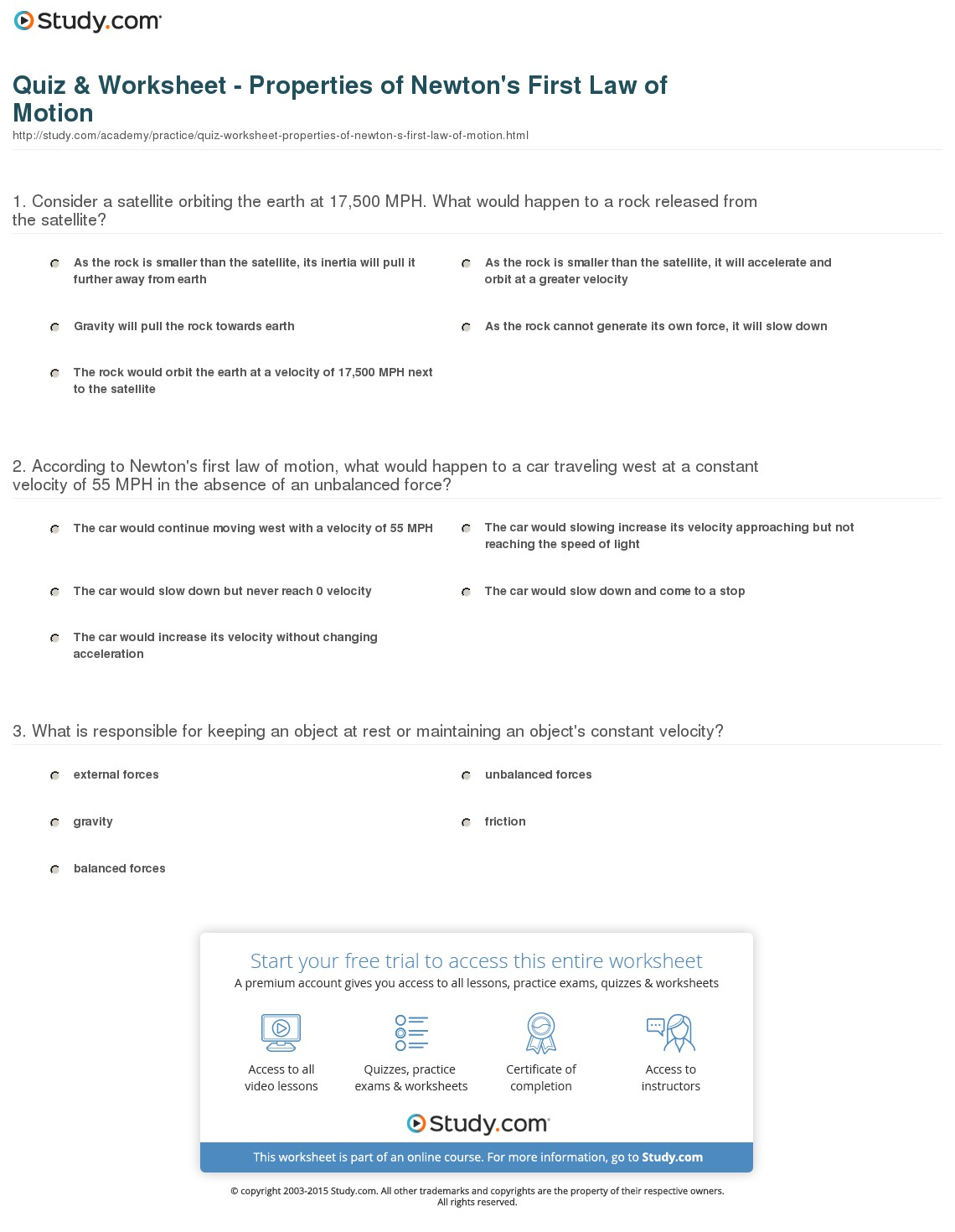 Laws Of Motion Worksheets Answers