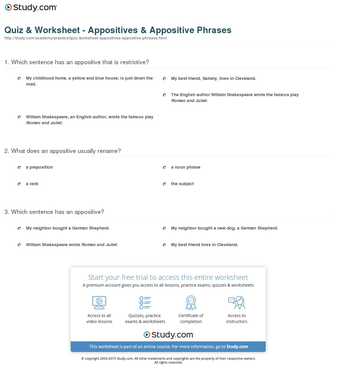 Clauses And Phrases Worksheets