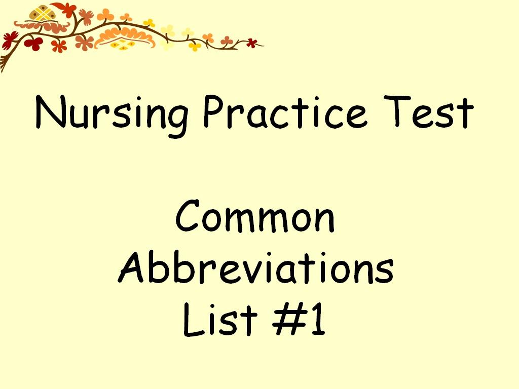 Medical Abbreviations Worksheets