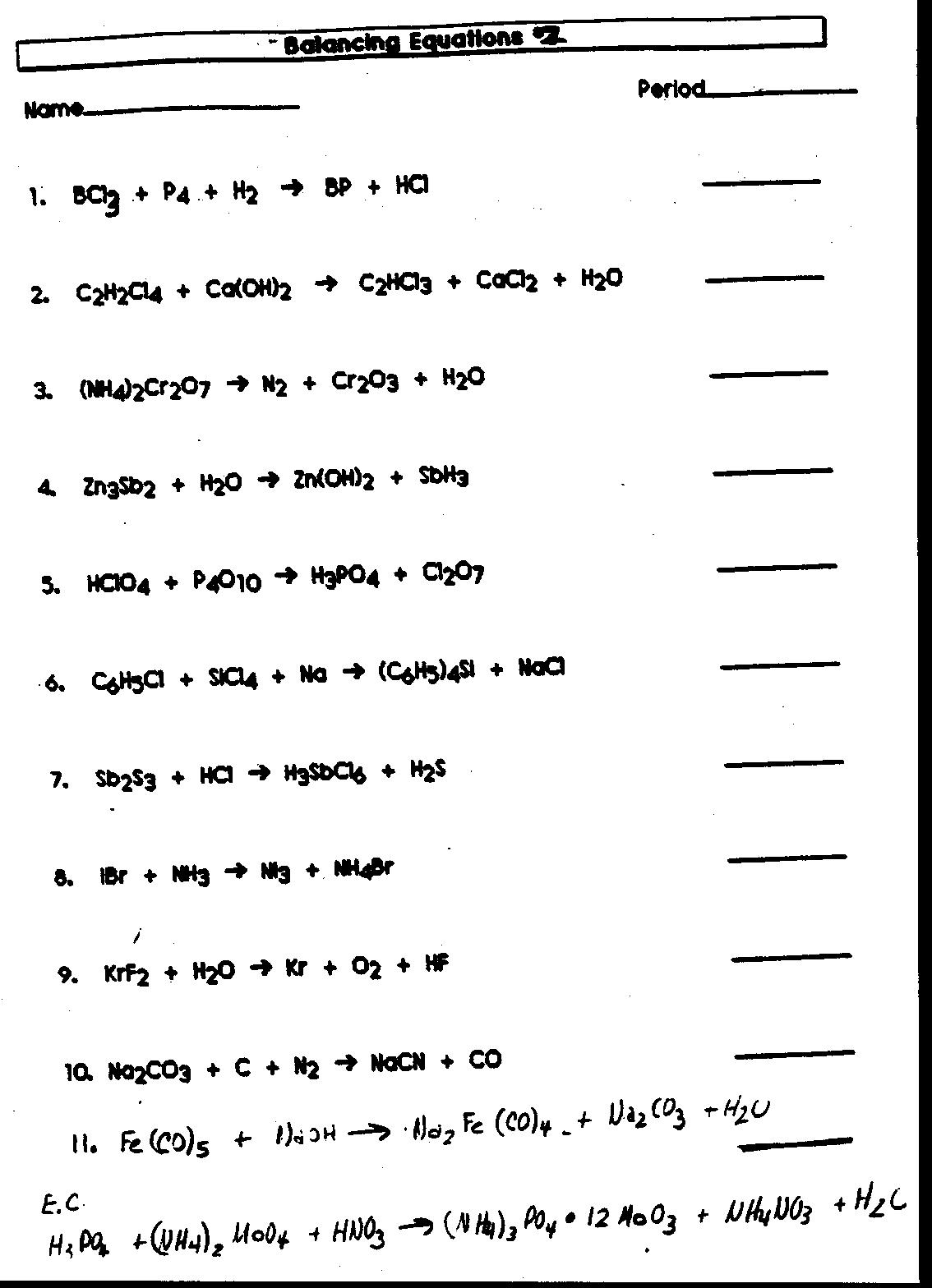 Word Equations Worksheets Answers