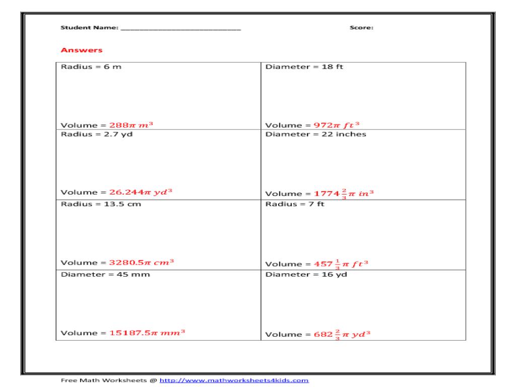 Volume Of A Sphere Worksheets