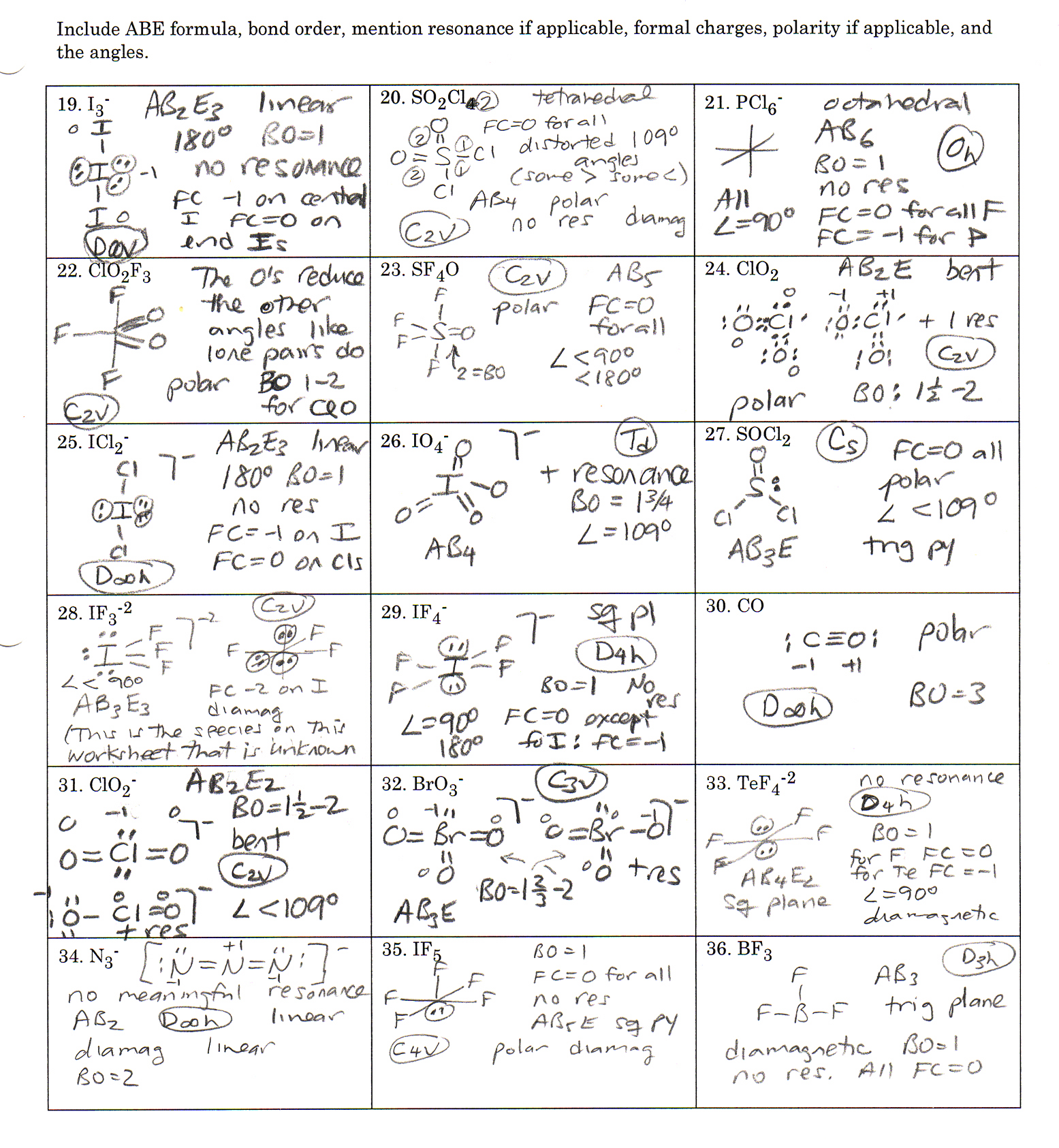 Chemistry Worksheets Lewis Dot Structures Answers