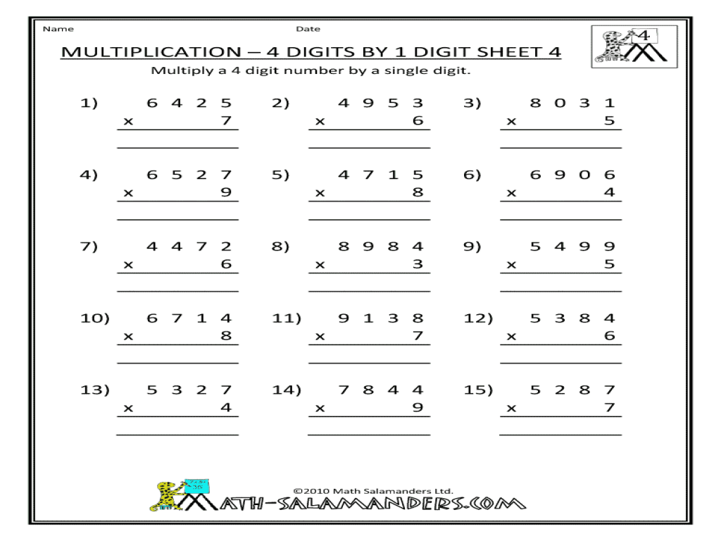 3 And 4 Digit By 1 Digit Multiplication Worksheets For All Worksheets Samples