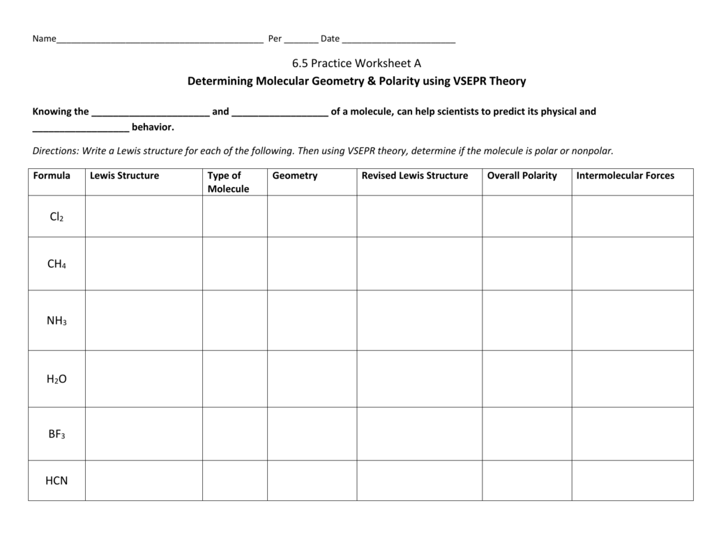 Molecular Geometry And Polarity Worksheets Answers