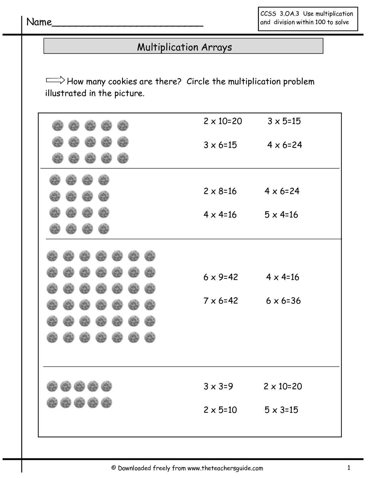 Arrays And Multiplication Worksheets