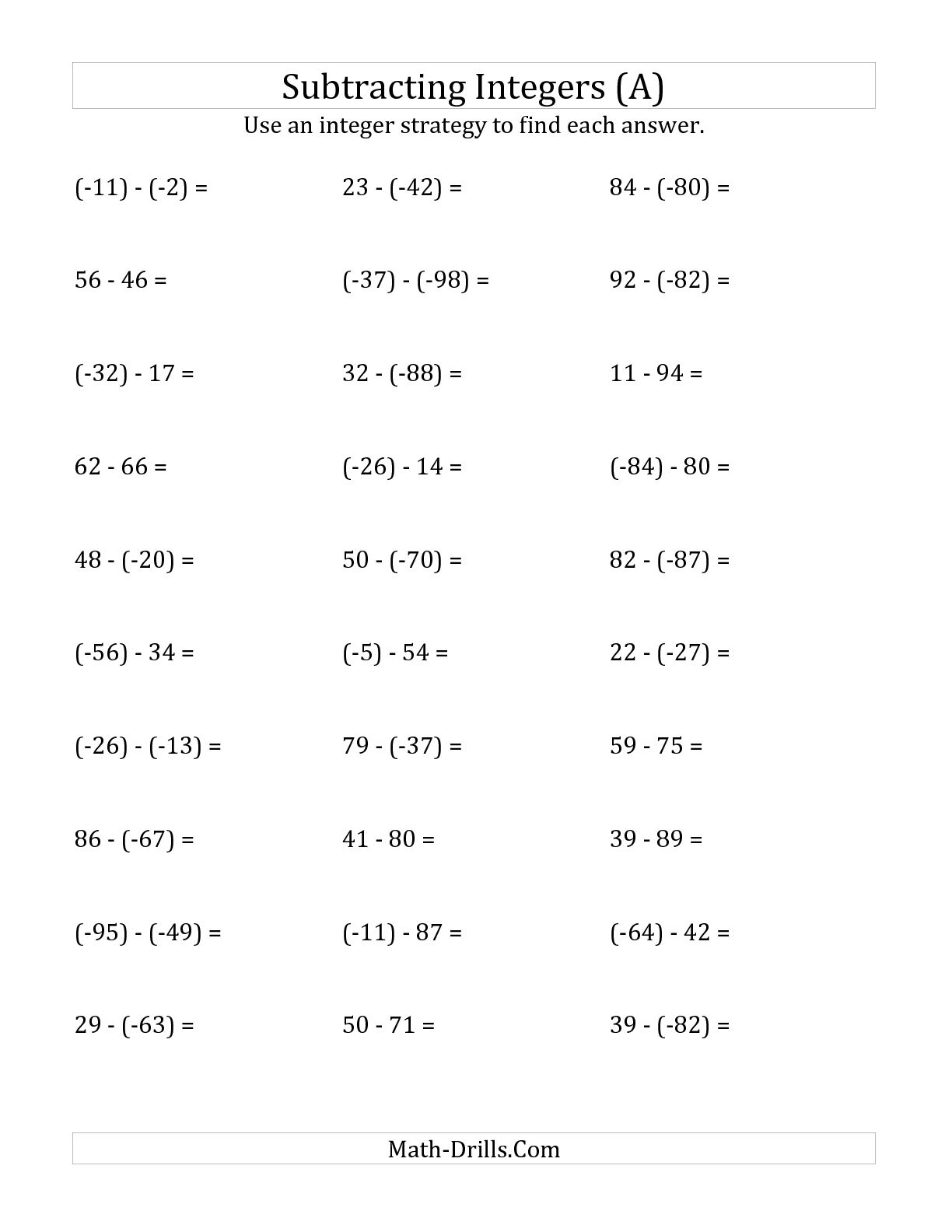 Negative Integers Worksheets