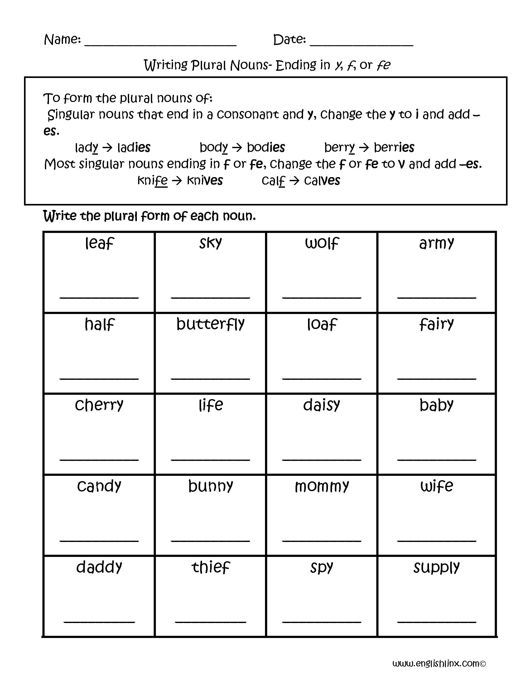 Worksheets On Singular And Plural Nouns For Grade 1