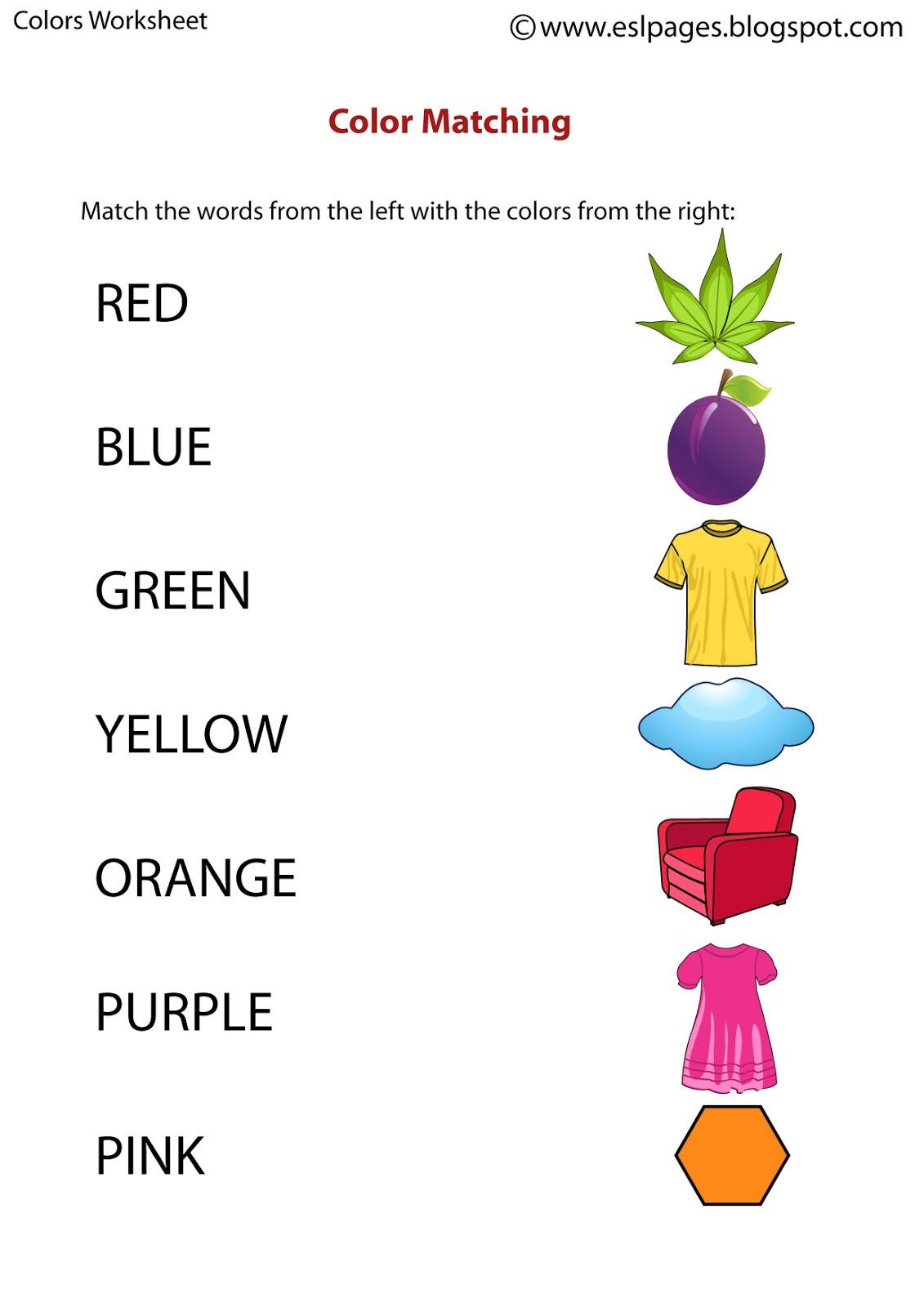 Esl Color Worksheets