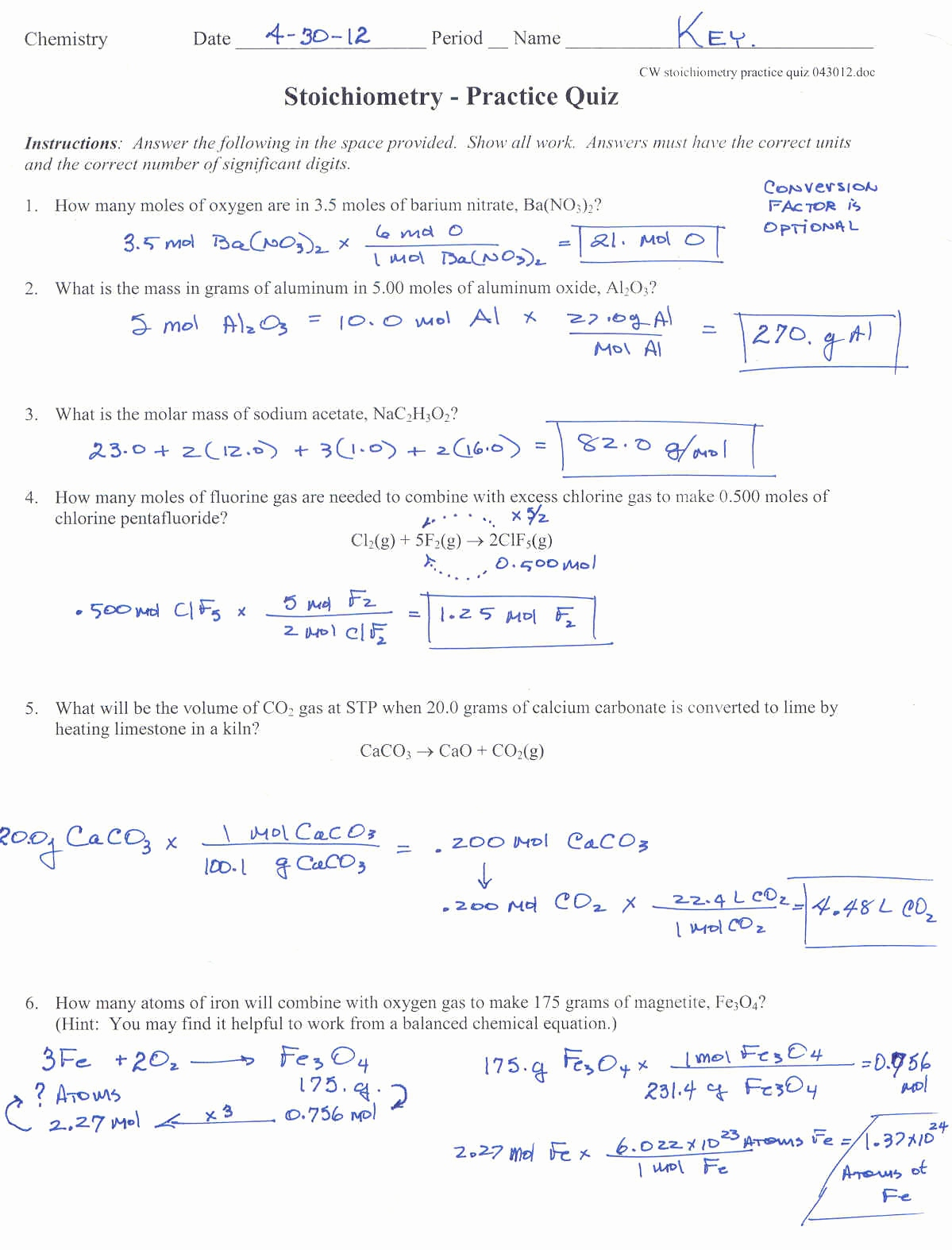 Stoichiometry Practice Worksheets