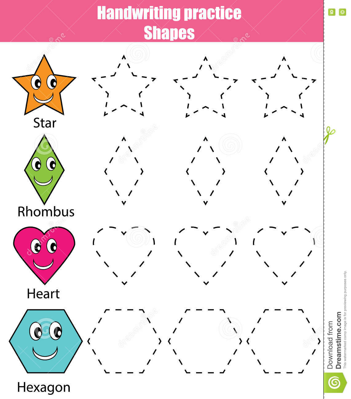 Shapes Writing Worksheets