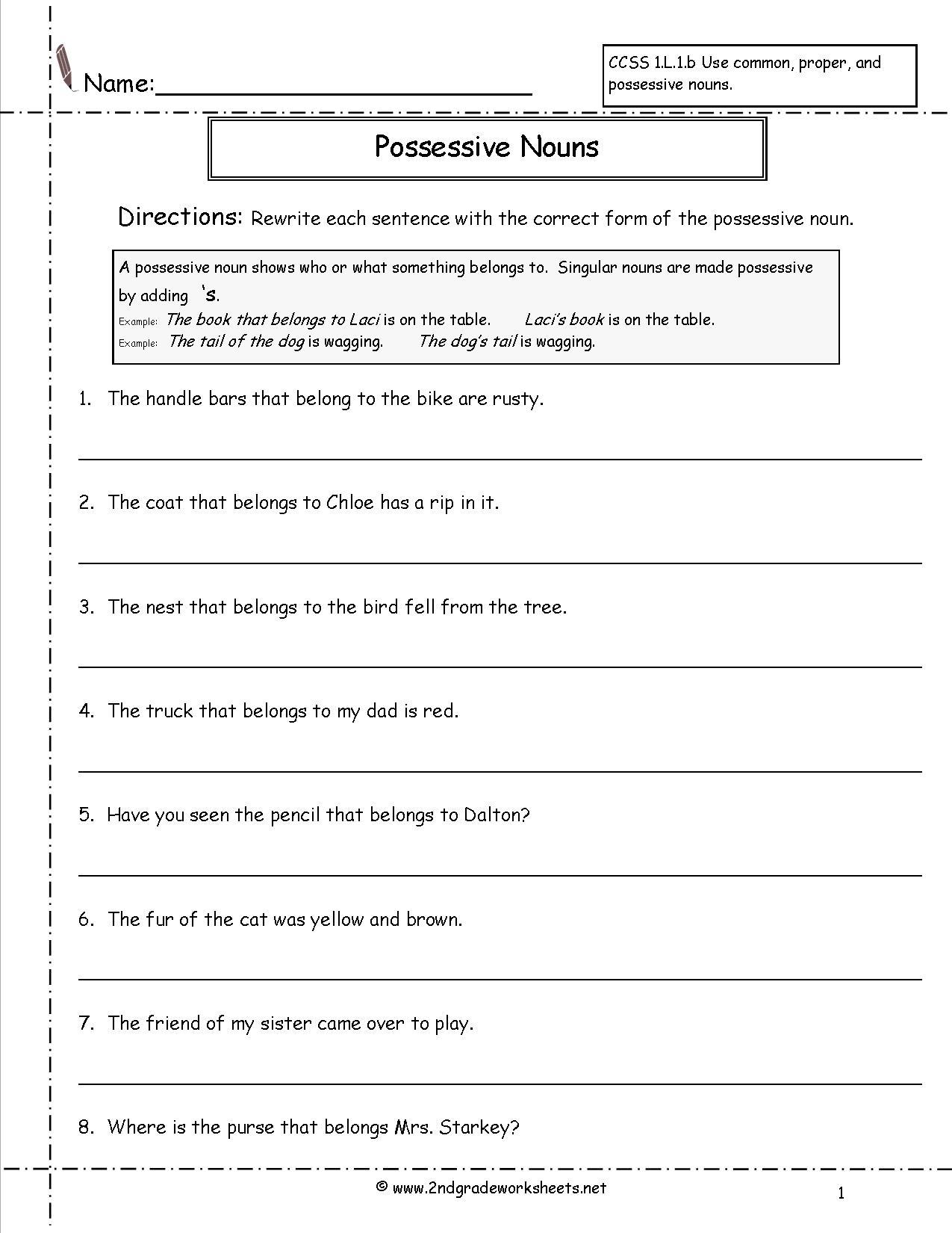 Possessive Worksheets For 2nd Grade