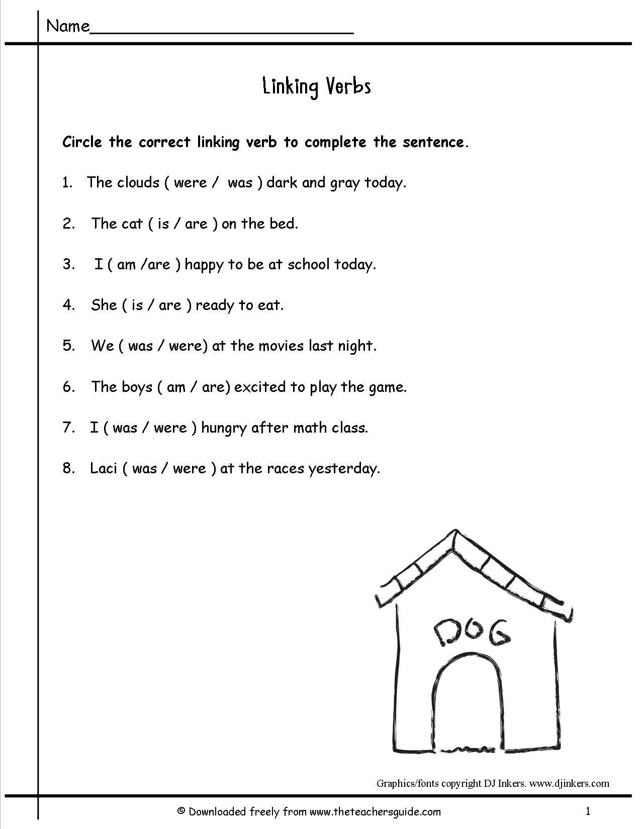 Verb Worksheets 2nd Grade