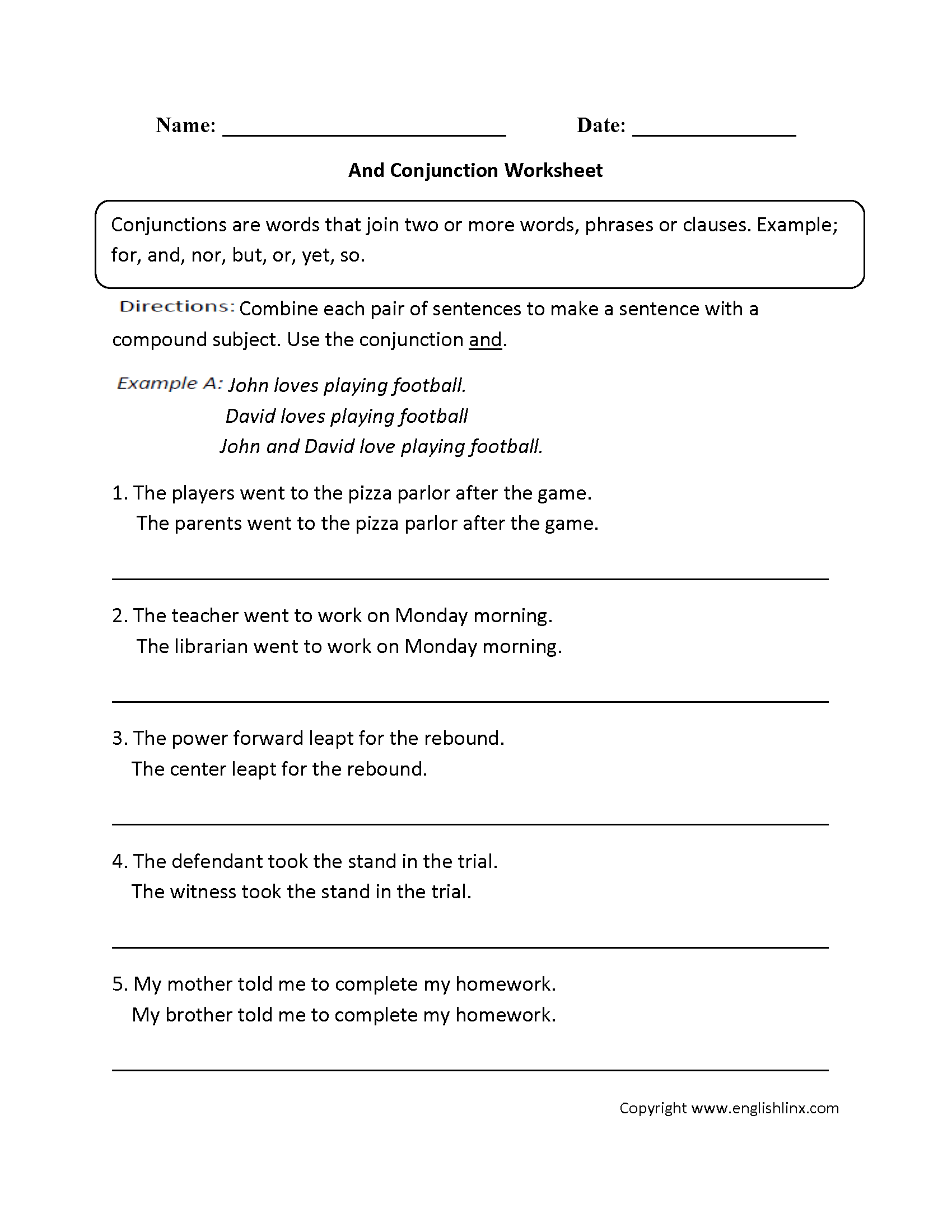 Conjunction Worksheets For Middle School