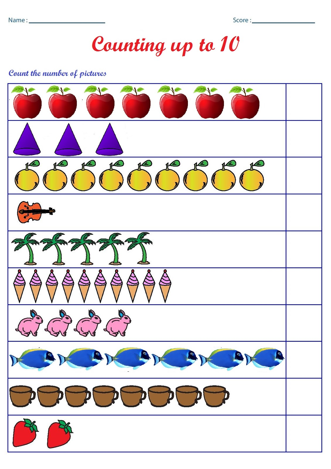 Picture Counting Worksheets