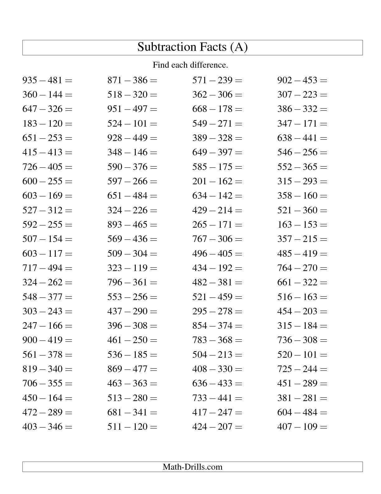 Subtraction Horizontal Worksheets