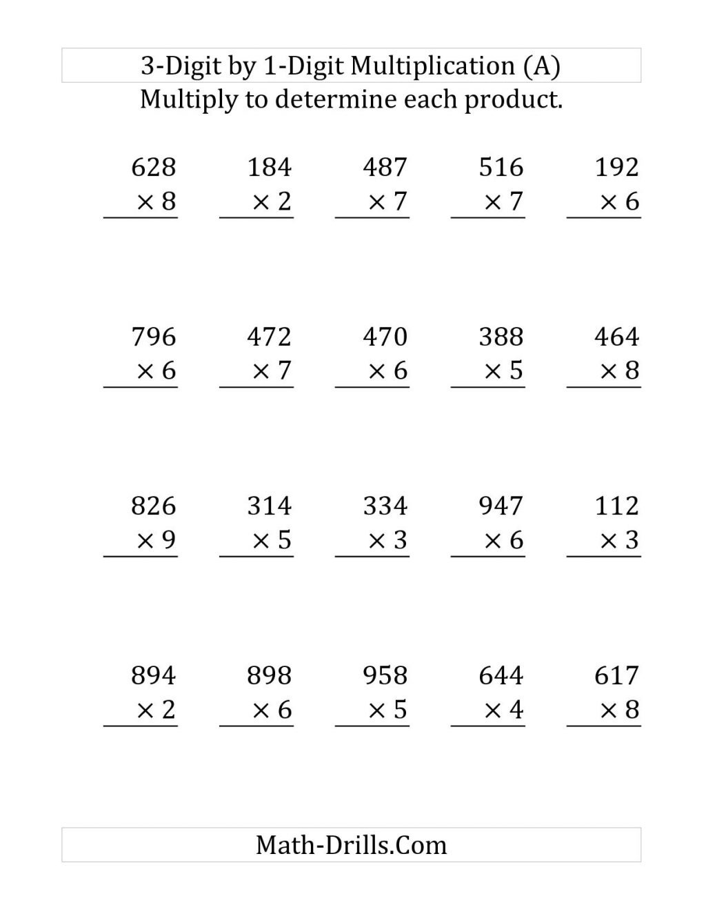 Multiplication Without Regrouping Worksheets