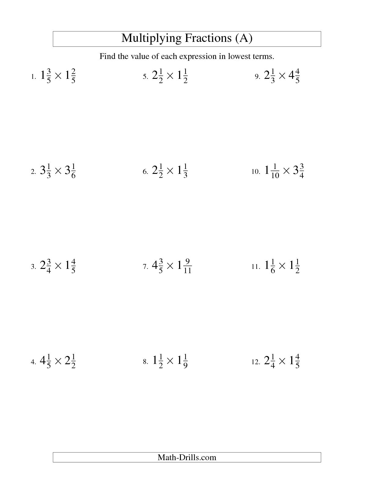 Multiplying Mixed Numbers Worksheets