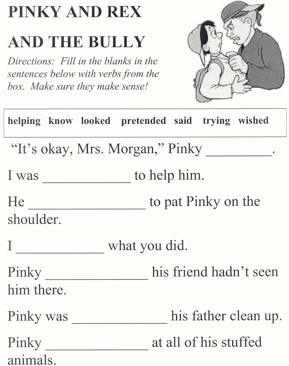 Printable Bullying Worksheets