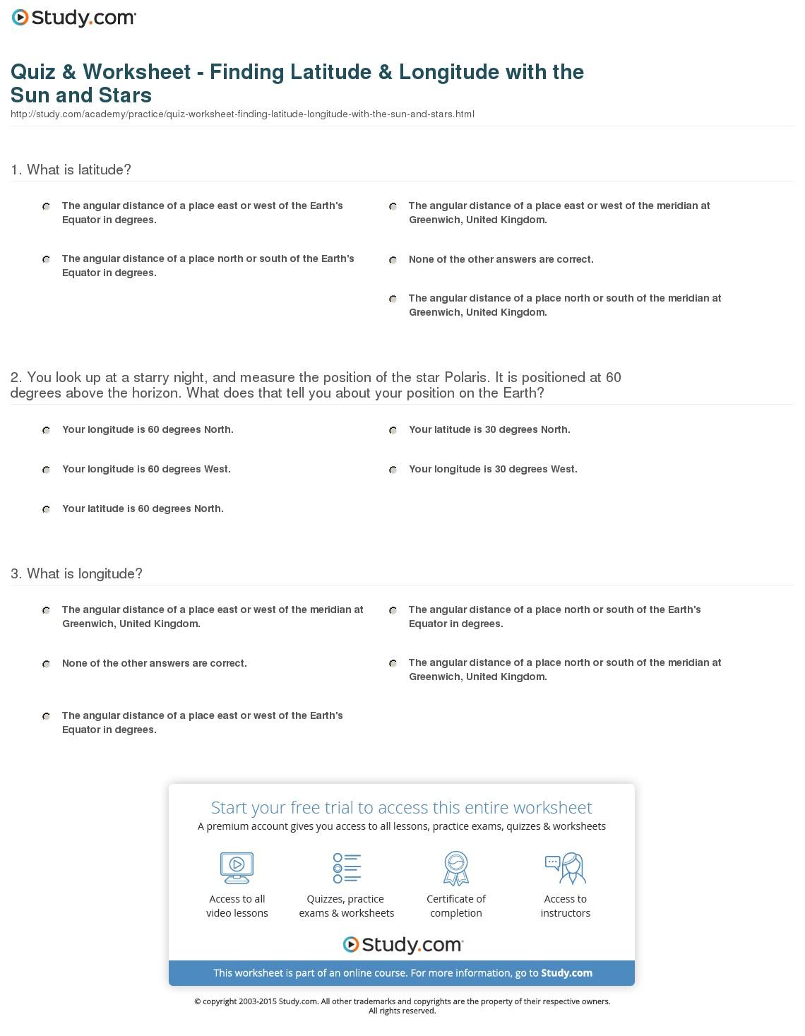 Latitude And Longitude Worksheets Answers