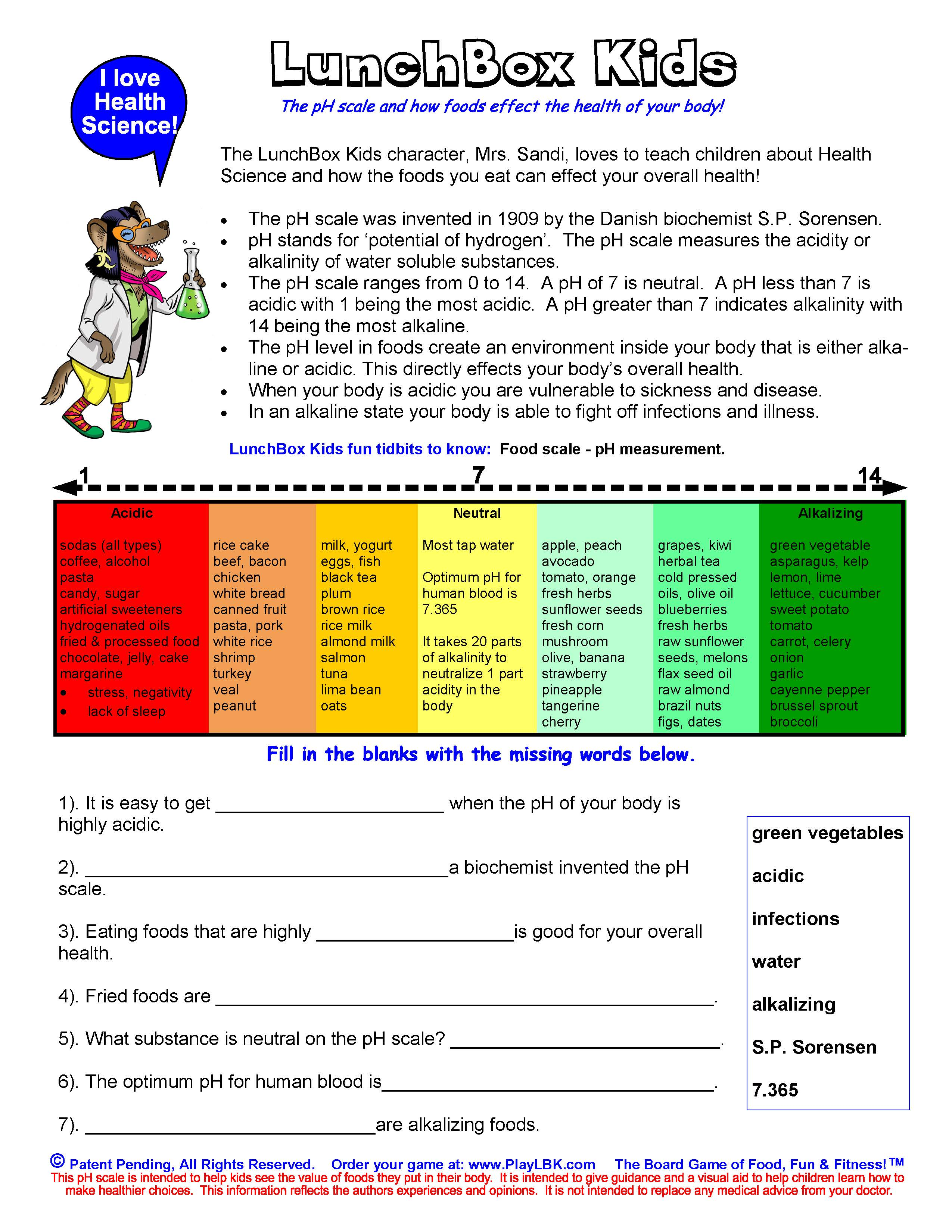 Ph Scale Worksheets For Kids