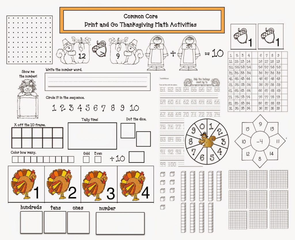 Thanksgiving Printable Math Worksheets 2nd Grade Common Core State Worksheets Samples