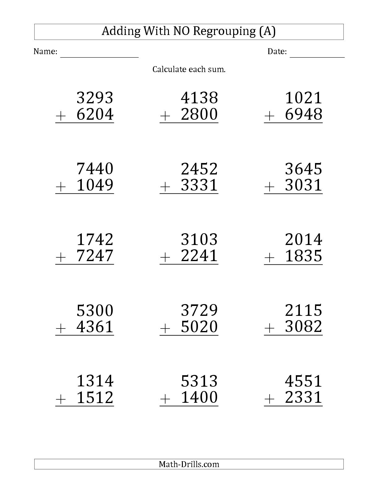 4 Digit Addition Worksheet Print