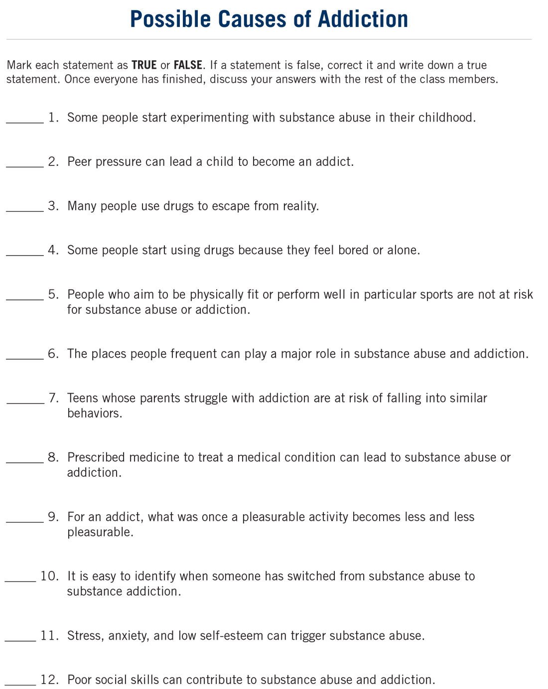 Triggers In Addiction Worksheets