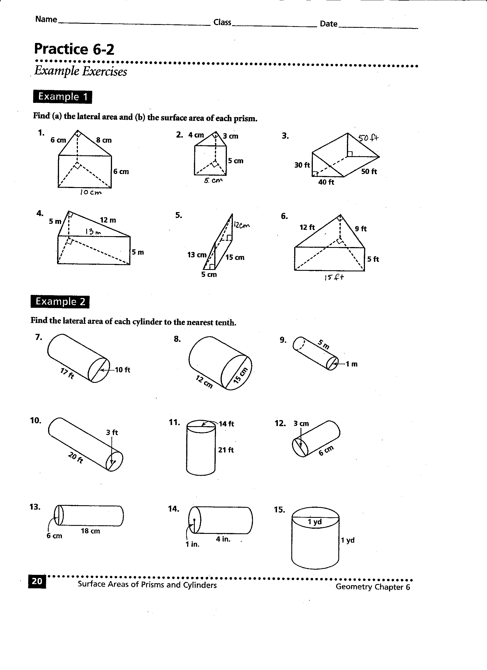 Volume Surface Area Worksheets