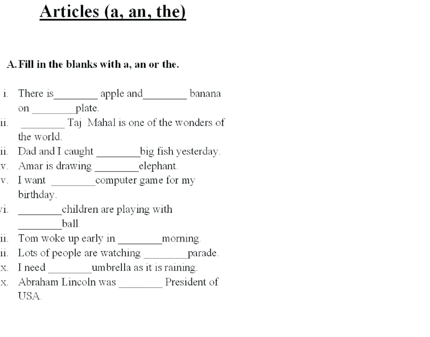Fill In The Blank Worksheets 1st Grade