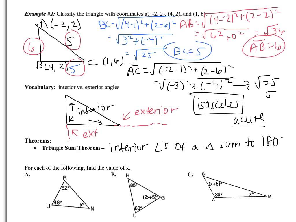 25 Worksheet Triangle Sum And Exterior Angle Theorem