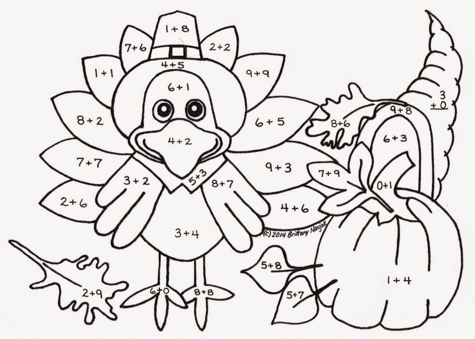 Thanksgiving Addition Worksheets For First Grade