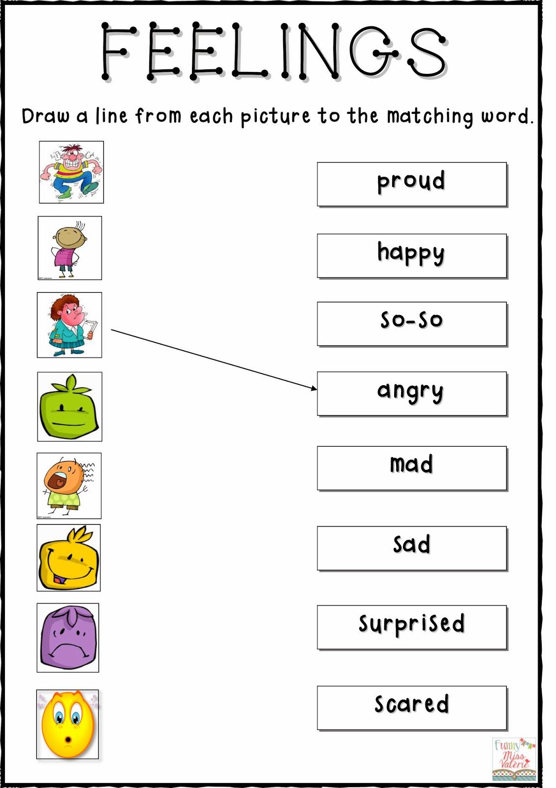 Kindergarten Feelings Worksheets