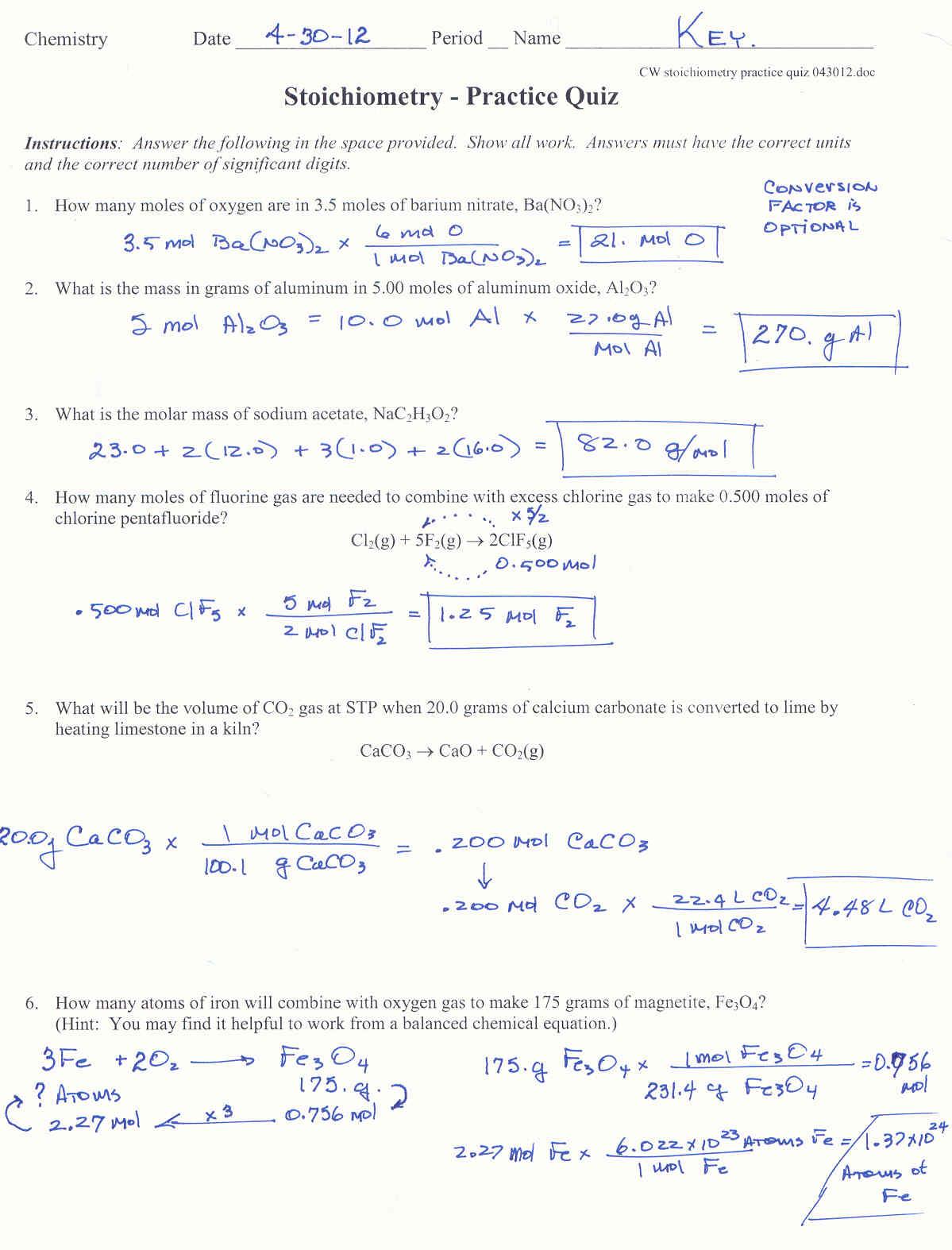 Stoichiometry Practice Worksheets
