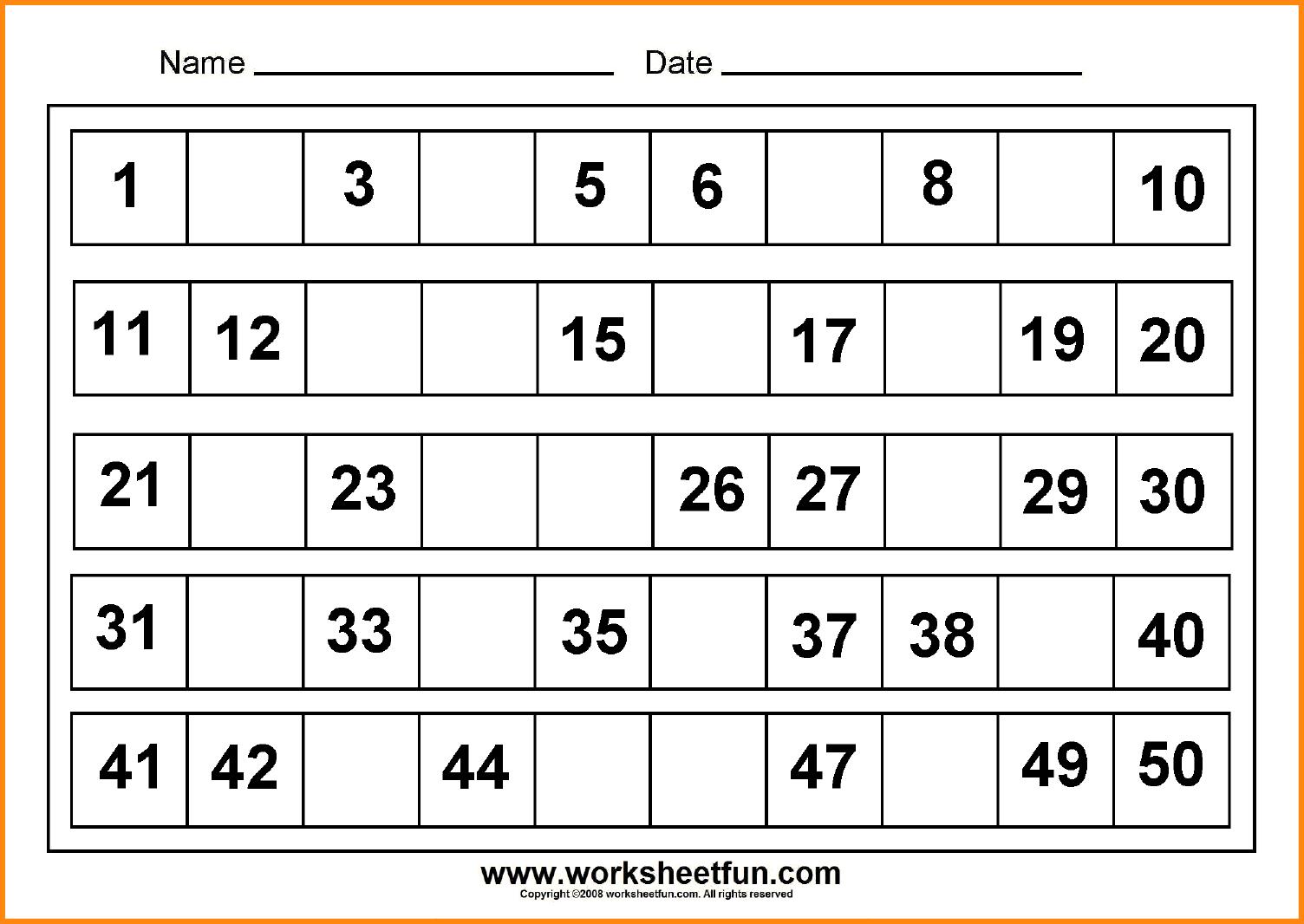 Missing Numbers 1 20 Worksheets