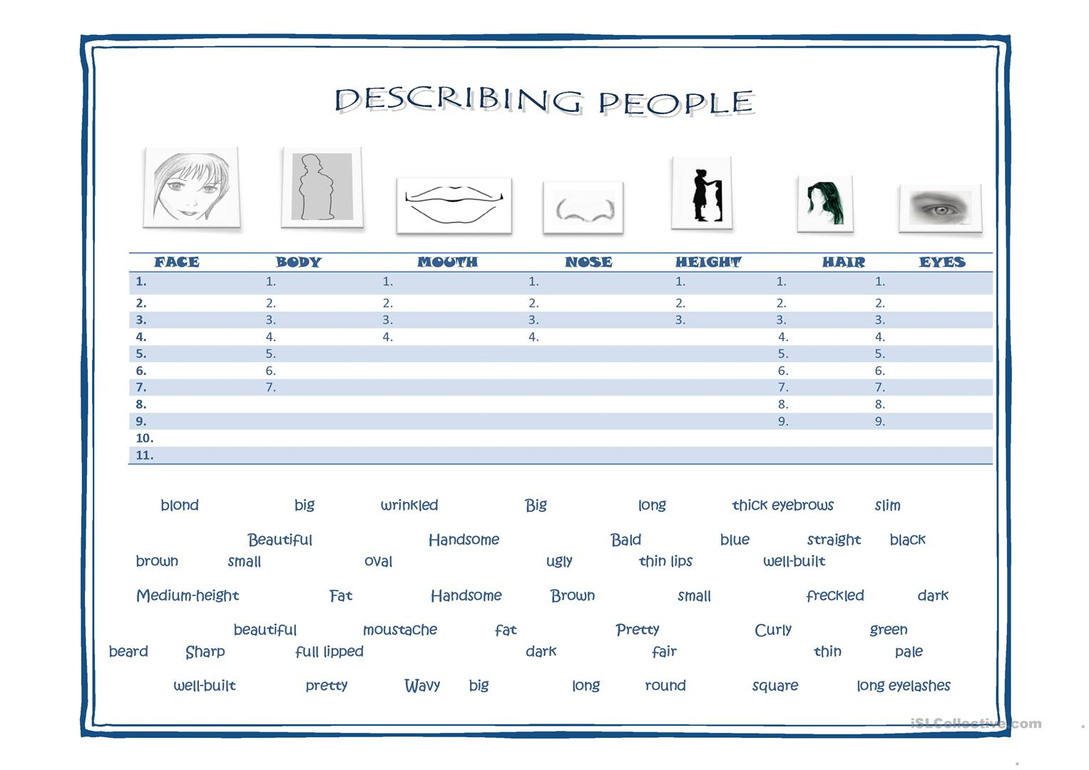 Physical Appearance Worksheets Activities