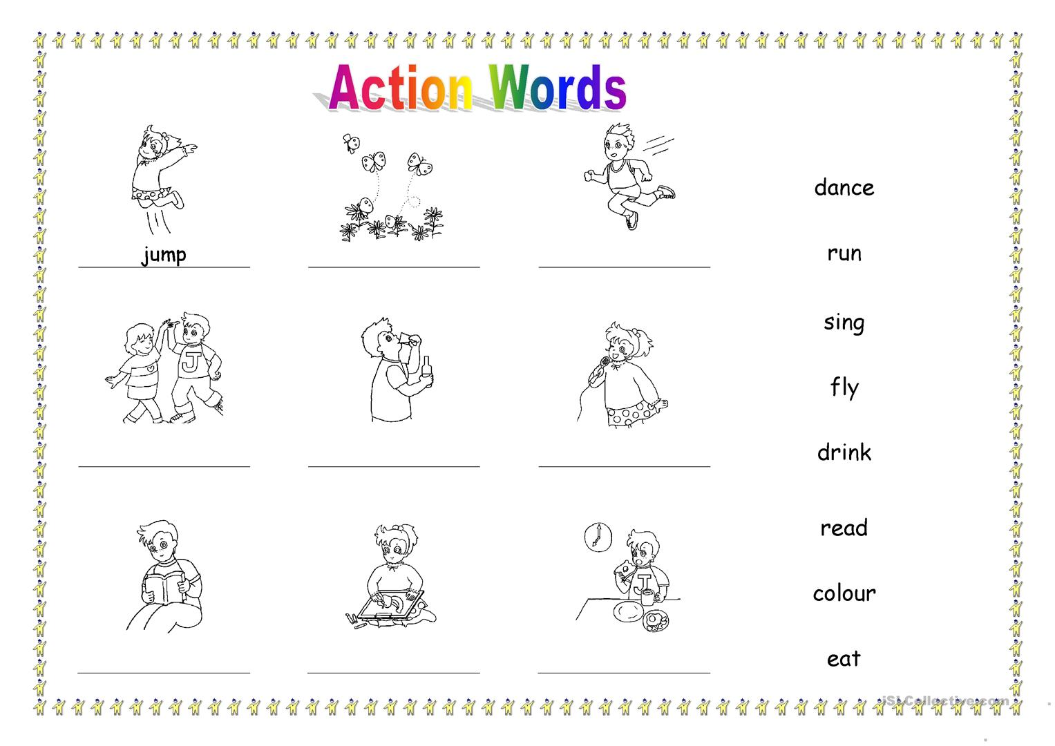 Action Words Pictures Worksheets