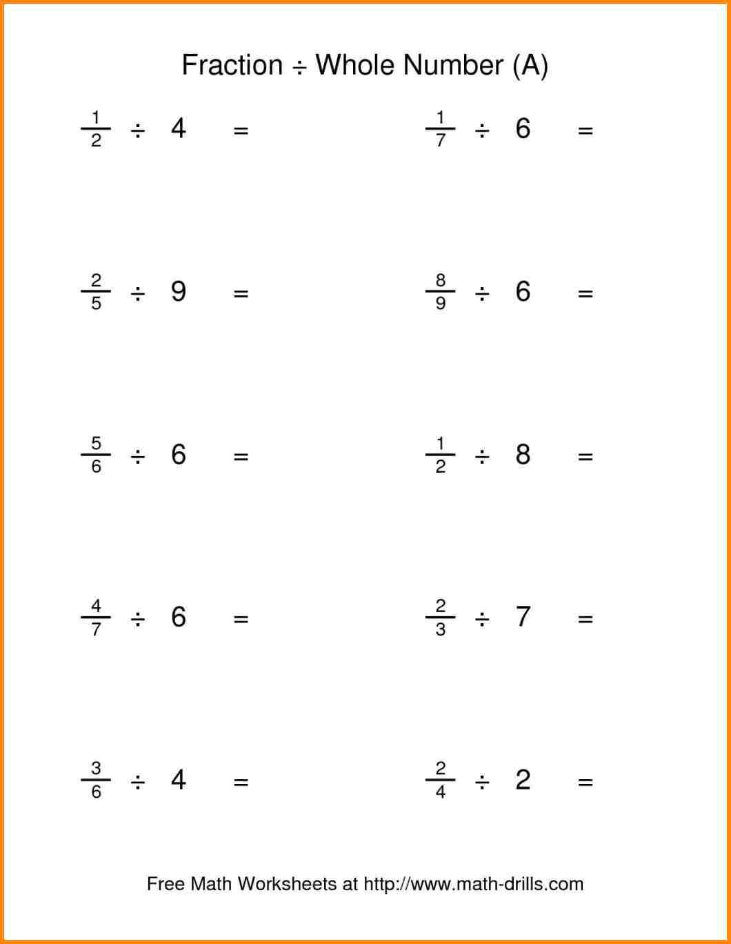 Fraction Division Models Worksheets