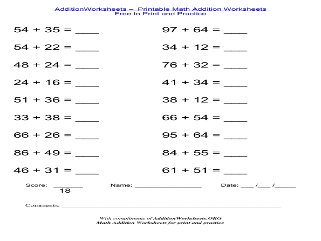 Addition Worksheets Vertical Worksheets For All