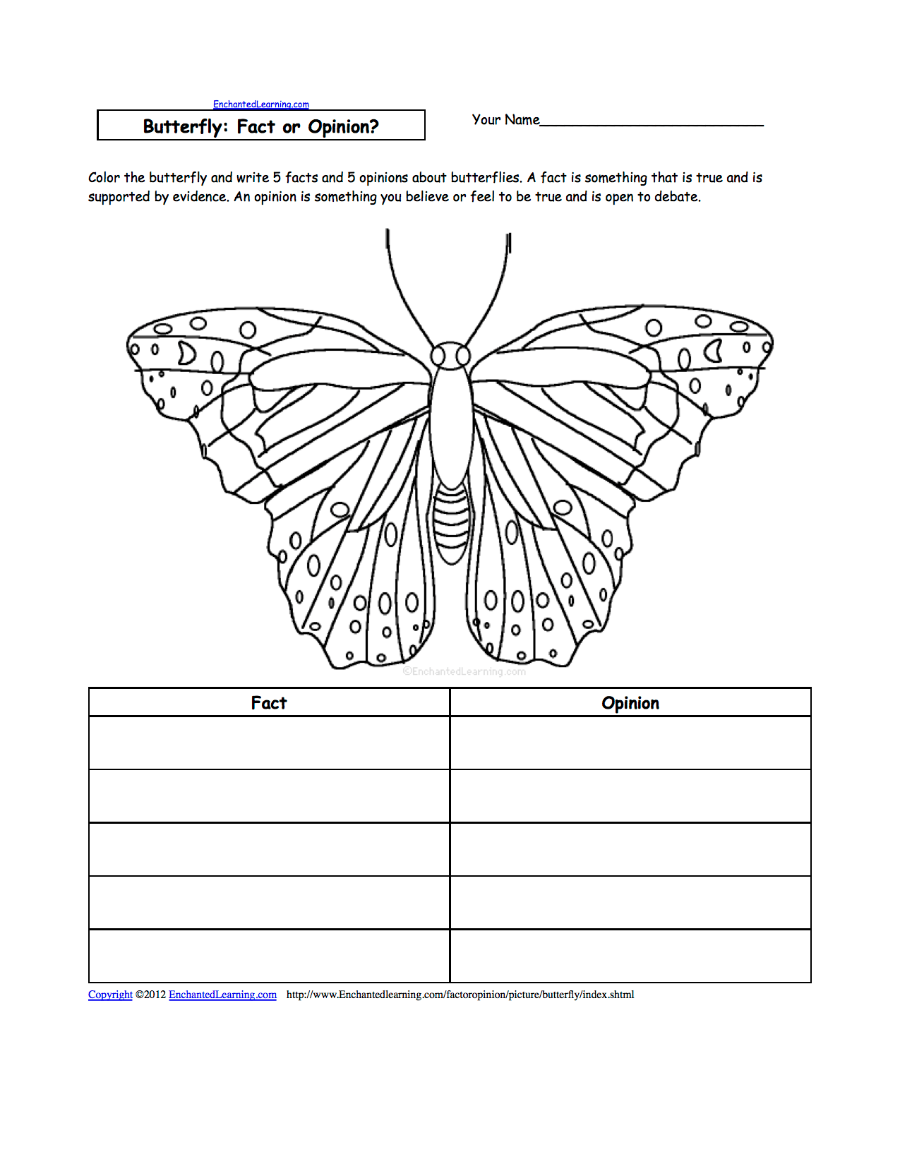 Butterfly Parts Worksheets