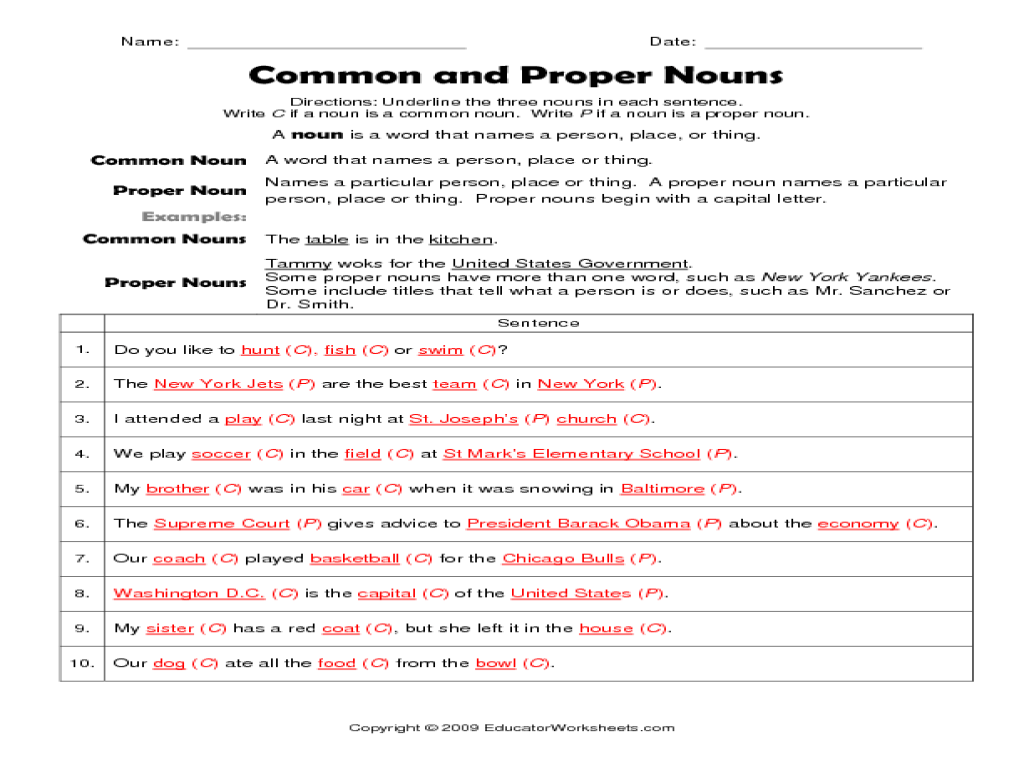 Common And Proper Nouns Worksheets 5th Grade