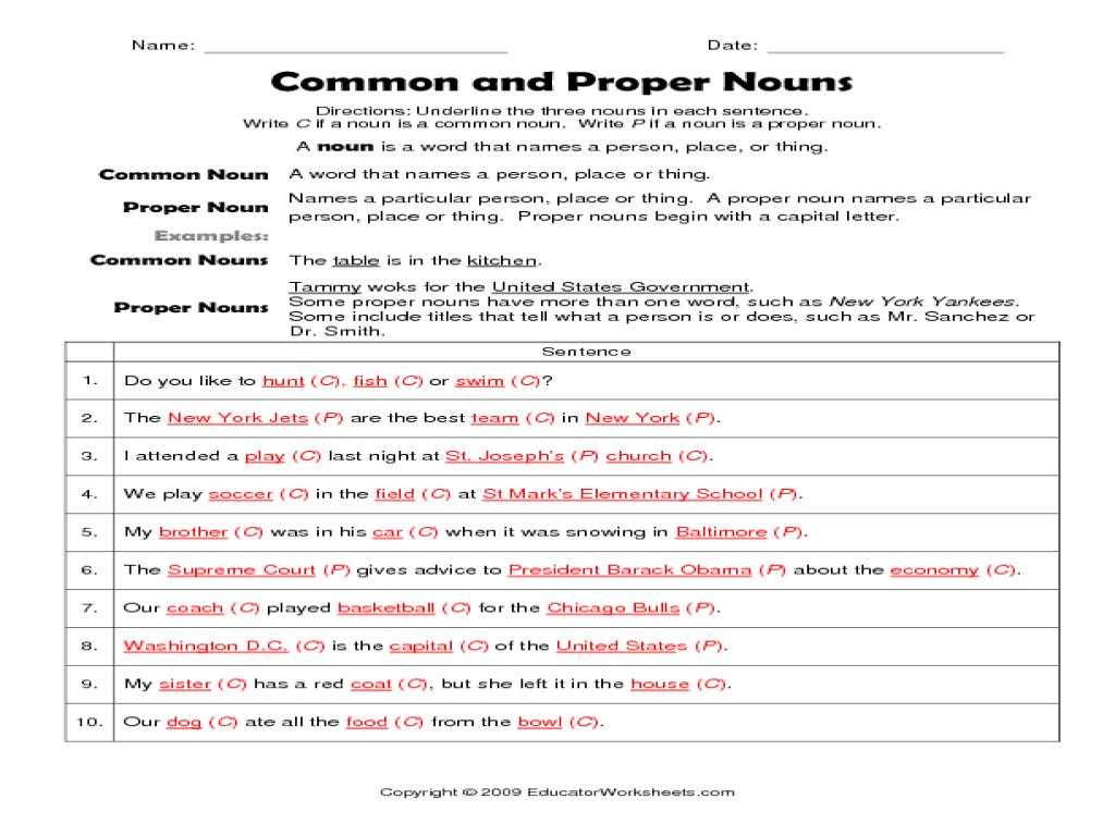 Underline Nouns Worksheet