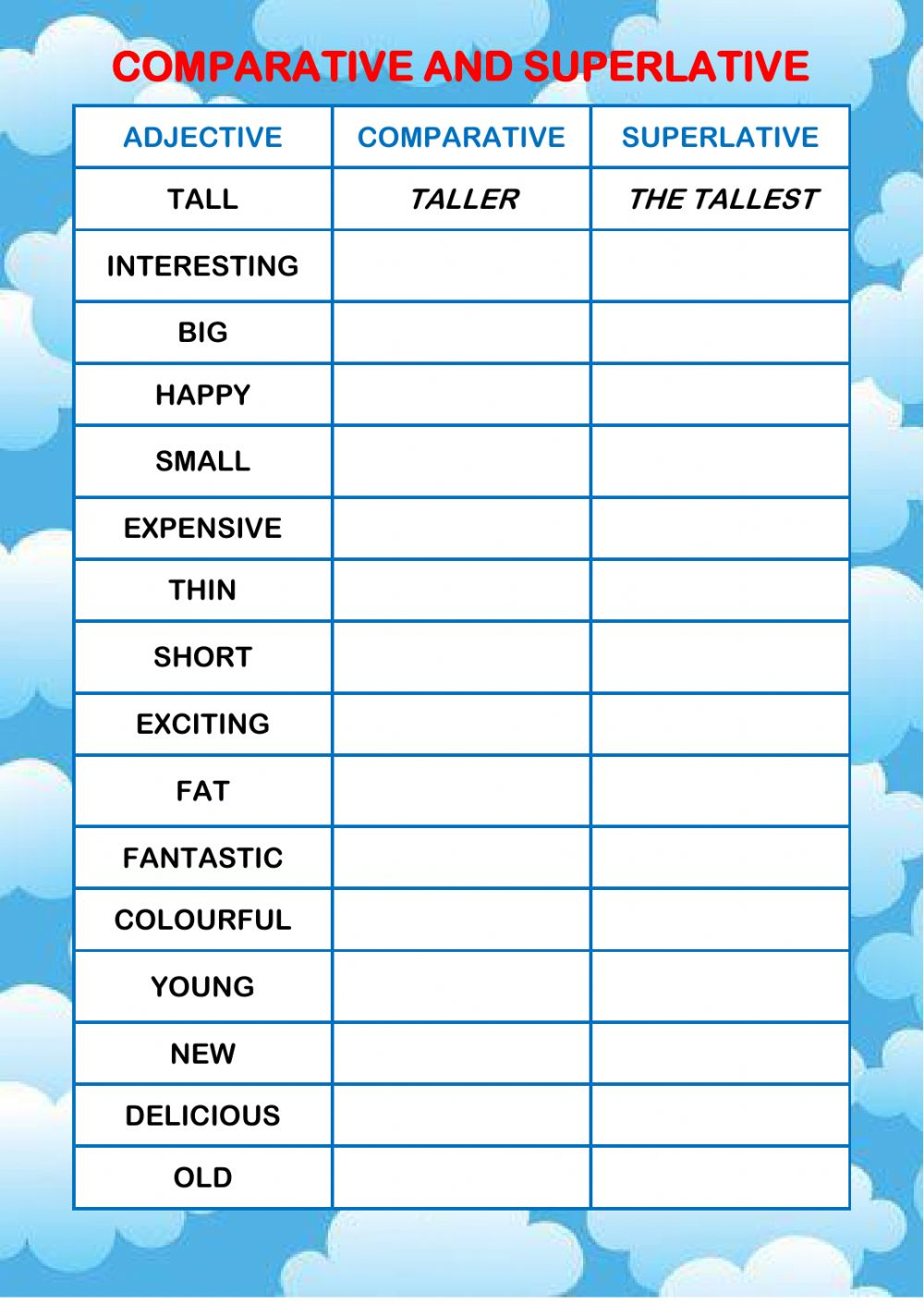 Superlative And Comparative Worksheets