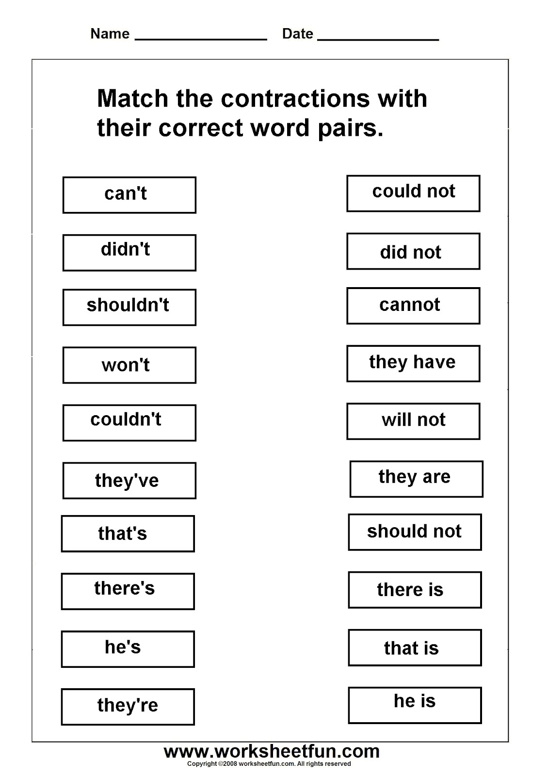 Contractions Worksheets Can T Didn T Shouldn T Won T